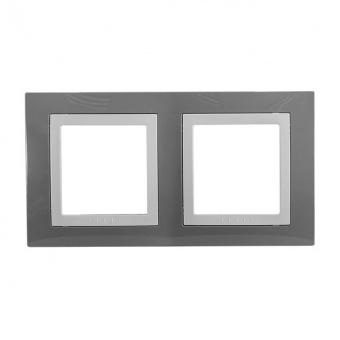 двойна рамка, техническо сиво, schneider, unica basic, mgu2.004.858