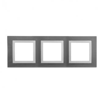тройна рамка, техническо сиво, schneider, unica basic, mgu2.006.858