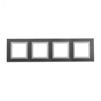 четворна рамка, техническо сиво, schneider, unica basic, mgu2.008.858