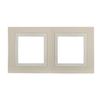 двойна рамка, крема, schneider, unica basic, mgu2.004.559