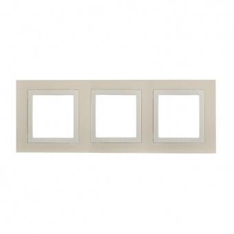тройна рамка, крема, schneider, unica basic, mgu2.006.559