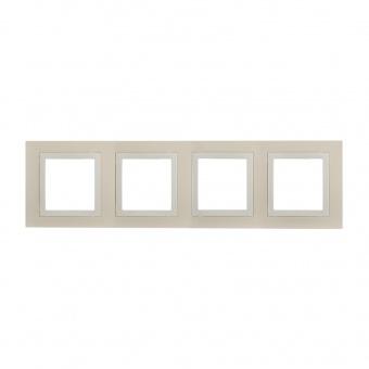 четворна рамка, крема, schneider, unica basic, mgu2.008.559