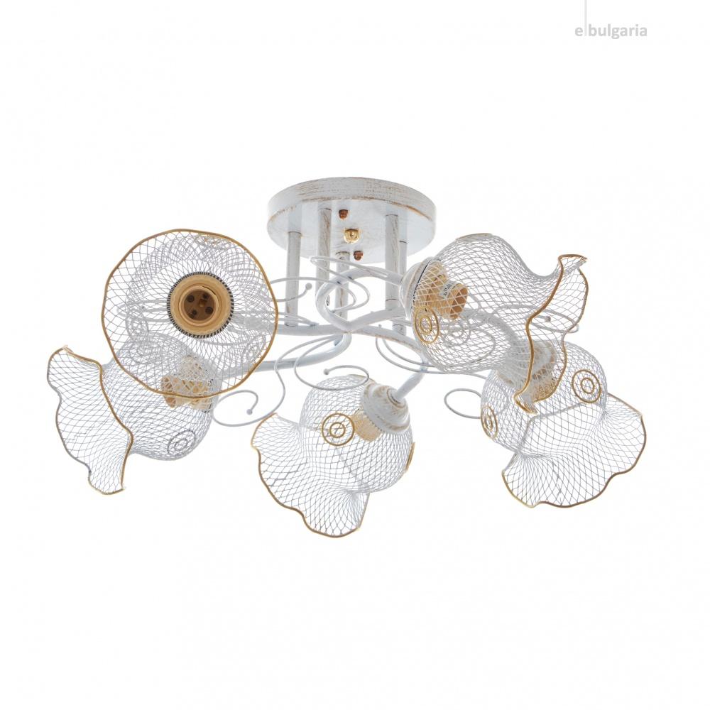 метален полилей, бял, elbulgaria, 5x40w, 1359/5 wh-gd