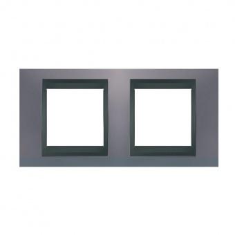 метална двойна рамка, берил/графит, schneider, unica top, mgu66.004.298