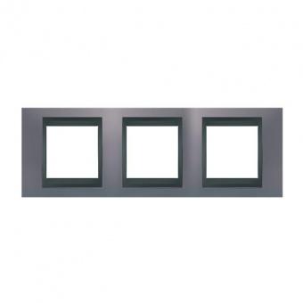 метална тройна рамка, берил/графит, schneider, unica top, mgu66.006.298