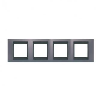 метална четворна рамка, берил/графит, schneider, unica top, mgu66.008.298