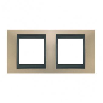 метална двойна рамка, опал/графит, schneider, unica top, mgu66.004.295