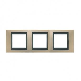 метална тройна рамка, опал/графит, schneider, unica top, mgu66.006.295