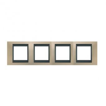 метална четворна рамка, опал/графит, schneider, unica top, mgu66.008.295
