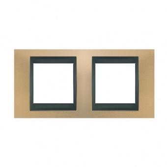 метална двойна рамка, оникс/графит, schneider, unica top, mgu66.004.296