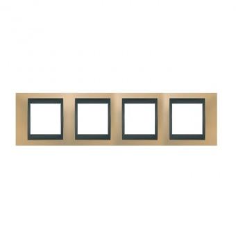 метална четворна рамка, оникс/графит, schneider, unica top, mgu66.008.296