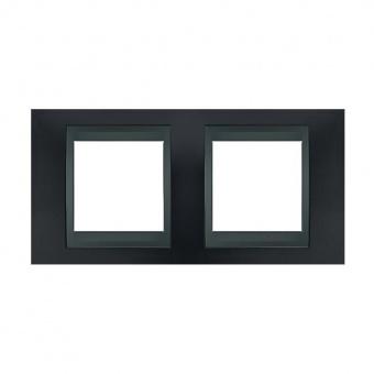 метална двойна рамка, сив металик/графит, schneider, unica top, mgu66.004.297