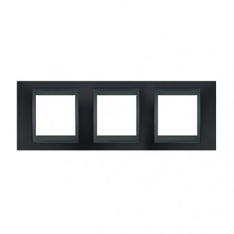 метална тройна рамка, сив металик/графит, schneider, unica top, mgu66.006.297