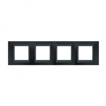 метална четворна рамка, сив металик/графит, schneider, unica top, mgu66.008.297