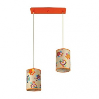 текстилен полилей, оранжев, siriuslights, сова, 2x25w, 249512