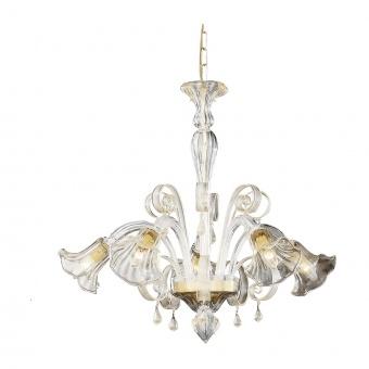 стъклен полилей, ambra, ideal lux, ca' d'oro sp5, 5x40w, 020969