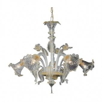 стъклен полилей, ambra, ideal lux, rialto sp5, 5x40w, 009704