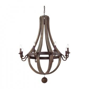 дървен полилей, marrone, ideal lux, millennium, sp8, 8x40w, 129709