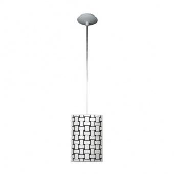 стъклен пендел, черен/бял, siriuslights, ратан, 1x75w, 114951