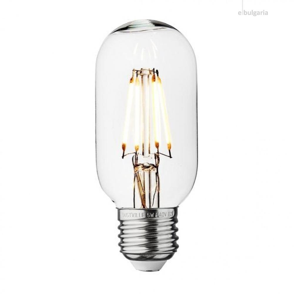 led лампа 4w, e27, топла светлина, 2700k, 360lm, 300°, led lamp filament t45