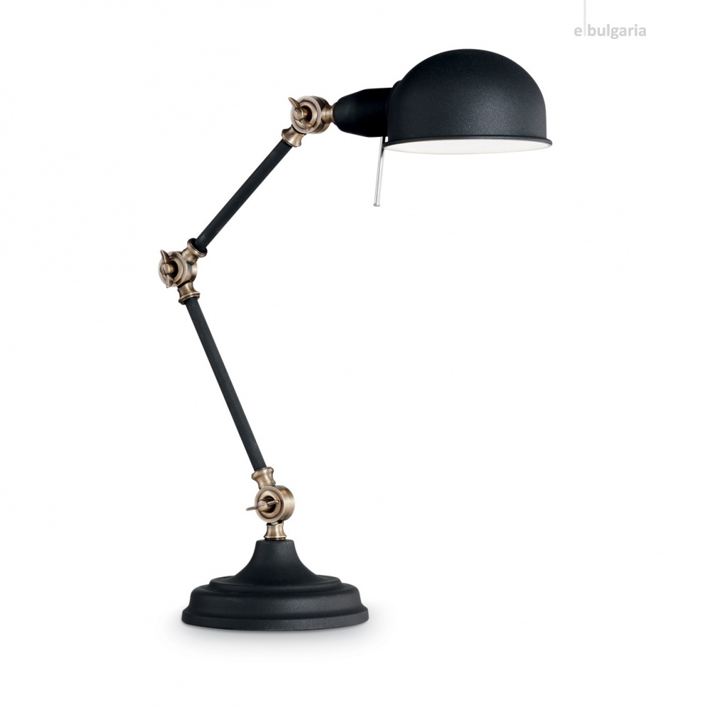 метална работна лампа, nero, ideal lux, truman tl1, 1x60w, 145211