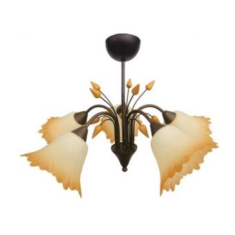 стъклен полилей, патина, siriuslights, толедо, 5x60w, 200315