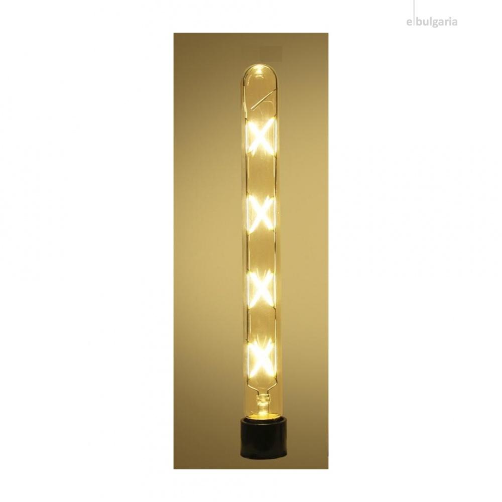 led лампа 8w, e27, топла светлина, 2700k, 720lm, 300°, 300mm, led lamp filament t30
