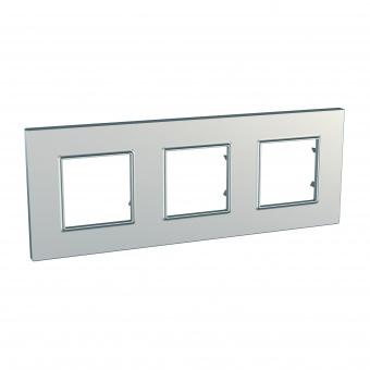 тройна рамка, сребро, schneider, unica quadro, mgu6.706.55