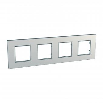 четворна рамка, сребро, schneider, unica quadro, mgu6.708.55