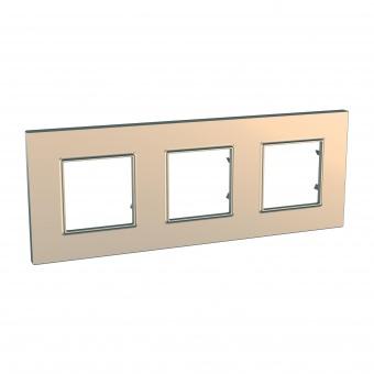 тройна рамка, мед, schneider, unica quadro, mgu6.706.56