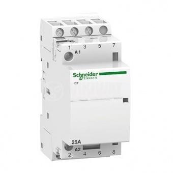 модулен контактор, ict 25a, четири полюсен, 4no, 220v, 50hz, acti 9.schneider, a9c20834