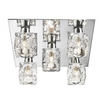 стъклен плафон, chrome, searchlight, ice cube, led 5x5w, 3000k, 750lm, 2275-5-led