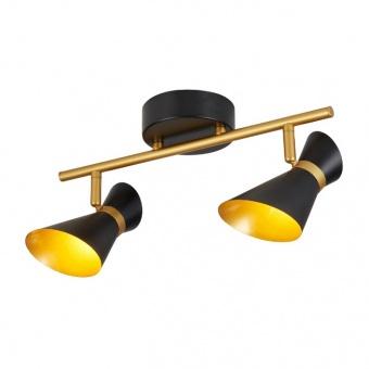 метален спот, black/gold, searchlight, diablo, led 2x4w, 3000k, 800lm, 5922bg