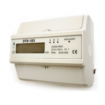трифазен електромер, din шина, 3x100A, 400V, 800imp/kWh, за анализ и статистика, сив, gao, 5257h