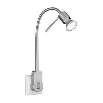 метална настолна лампа, nickel mat, trio, laon, led, 5w, 400lm, 3000k, 899670107