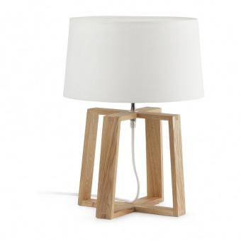 текстилна настолна лампа, wood, faro, versus, 1x40w, 28401