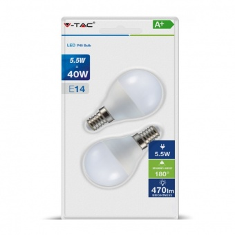 led лампа 5.5w, 2бр. блистер, e14, бяла светлина, p45 bulb, 4000k, 470lm, 7356
