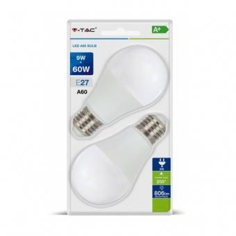 led лампа 9w, 2бр. блистер, e27, студена светлина, a60 bulb, 6400k, 806lm, 7296