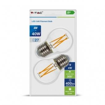 led лампа 4w, 2бр. блистер, e27, топла светлина, g45 filament bulb, 2700k, 400lm, 7367