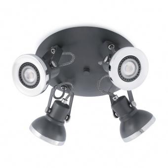 метален спот, dark grey, faro, ring, 4x8w, 40560