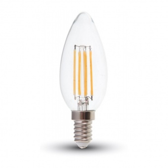 led лампа 4w, e14, топла светлина, dimmable candle filament, 2700k, 350lm, 4365