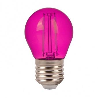 led лампа 2w, e27, розова светлина, g45 bulb, 60lm, 7410