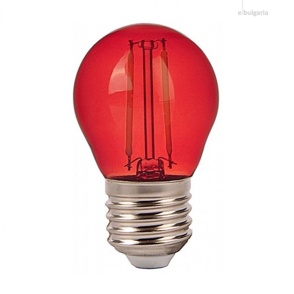 led лампа 2w, e27, червена светлина, g45 bulb, 60lm, 7413