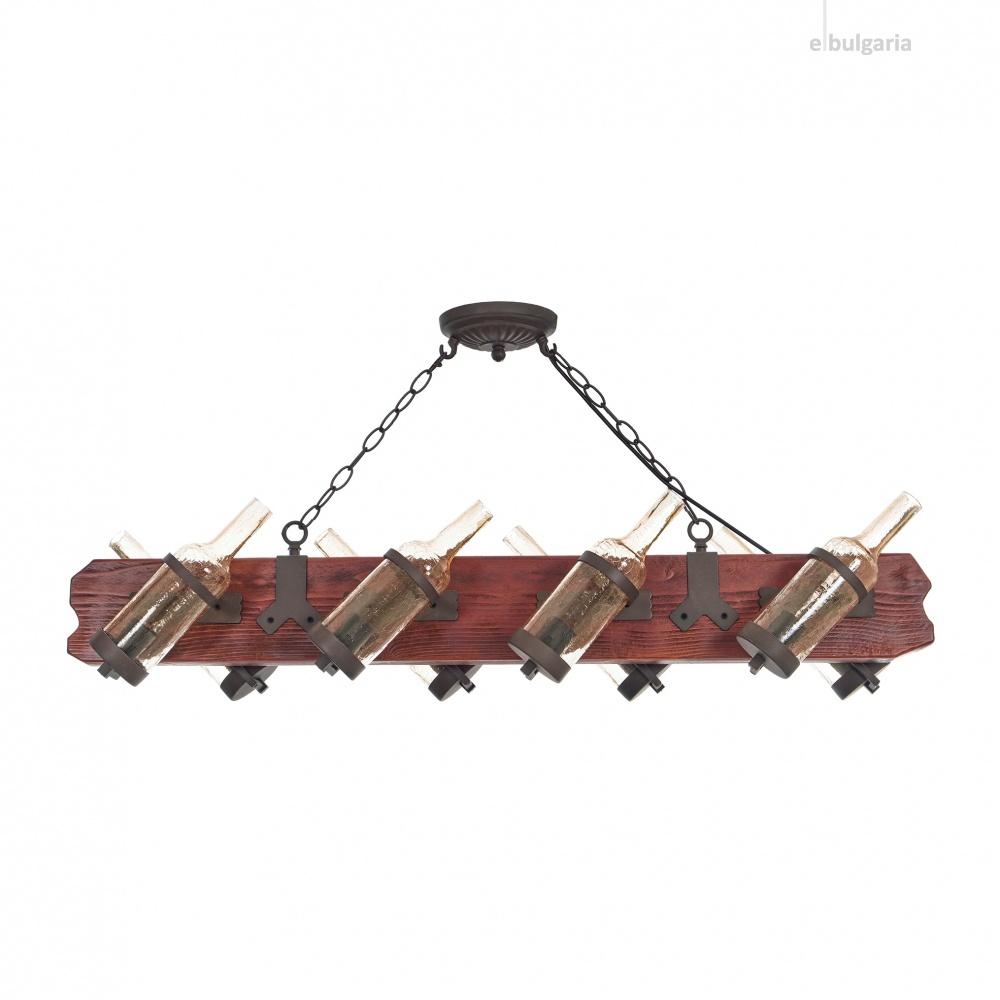 дървен полилей, кафяв, elbulgaria, 8x40w, 1563/8h