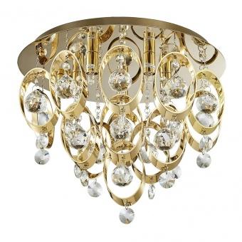 кристален плафон, gold, luxera, targa, 5x33w, 64386