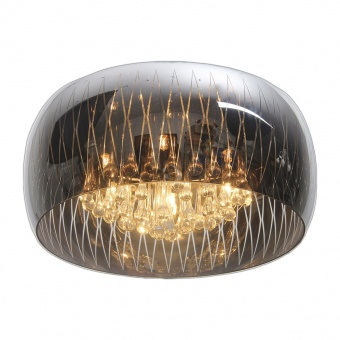 стъклен плафон, chrome, luxera, nefrit, 5x33w, 46116