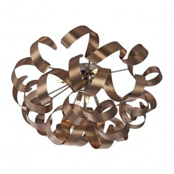метален плафон, satin copper, luxera, ribbon, 5x33w, 64357