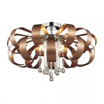 кристален плафон, satin copper, luxera, ribbon, 6x33w, 64374