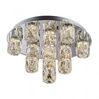 кристален плафон, chrome, luxera, polar, led 1x45w, 3000k, 3600lm, 62405