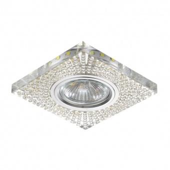 стъклена луна, chrome/clear, prezent, elegant double light, led 1x3w+1x50w, 71072